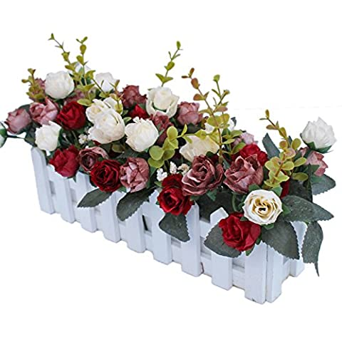 Luyue DIY Artificial Silk Flowers Arrangement Fake Rose in Picket Fence Pot Pack (Red Coffee Set)