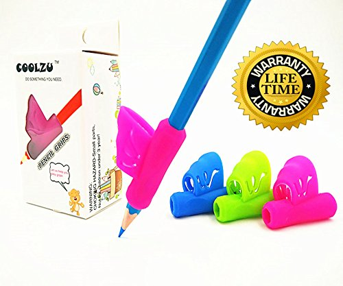 Coolzu Pencil writing Classroom Tools manopole per bambini e adulti ergonomica Handwring colorato Pack 4 count (Grips 4-ct) Grip-4