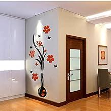 Oyedens 3d fai da te albero vaso fiore cristallo acrilico adesivi da parete in vinile Home Decor Larger