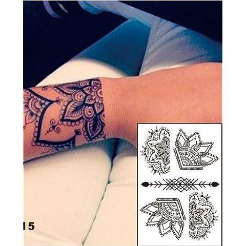 BELLA tatuaggio all'hennè Tatuaggi Tatoo FLASH Temporanei Henné Nero Black 33 Adesivi per corpo