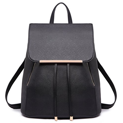 Miss Lulu Ladies Fashion PU Leather Backpack Rucksack Shoulder Bag (1669  Black) fed0315018963