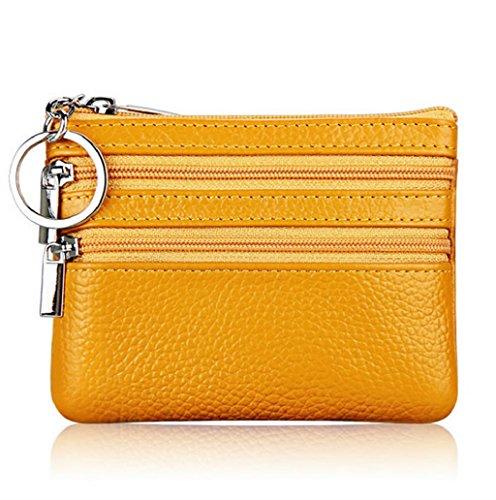 Dairyshop Borsa donna Portafoglio, Borsa di promozione della borsa moneta del cuoio delle donne (Nero) Giallo