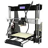 KKmoon Schreibtisch 3D Drucker Kit, Ausbesserung Prusa I3 DIY Selbstmontage MK8 Extruder Düse Acryl Rahmen LCD Bildschirm mit 8GB Sd Karte, Drucken Unterstützen ABS / PLA / HIP / PP / Holz Filament