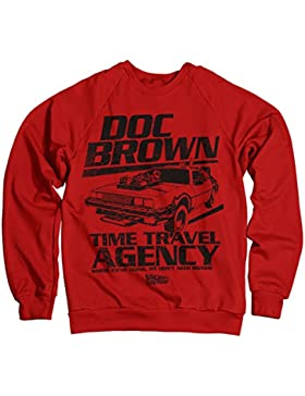 Licenza Ufficiale Doc Brown Time Travel Agency Felpa (Rosso)
