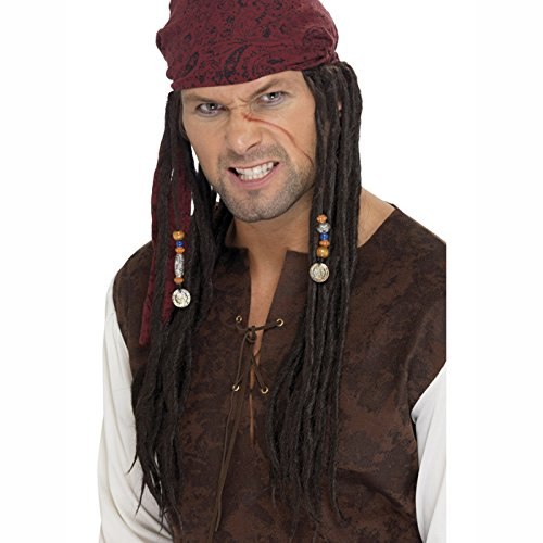 Jack Sparrow Stirnband Perücke - PARTY DISCOUNT NEU Perücke Pirat mit