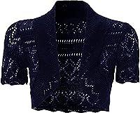 New Kids Girls Short Sleeve Bolero Knitted Cardigan Shrugs Top Age 7-13 Years (11-12 Years, Navy)
