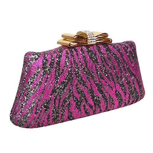Bonjanvye Glitter Zebra Pattern Bow Clutch Purses and Evening Bags Silver fuchsia