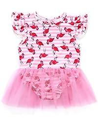 ESHOO Bebé recién nacido niña trajes de baño de una sola pieza con Tutu Vestido de 0-24 meses