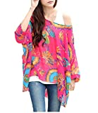 Nicetage Damen Bohemian Hippie Chiffon Batwing Bluse Shirt Top Red