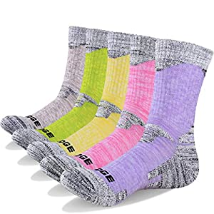 51ozKao59FL. SS300  - YUEDGE Women's Hiking Walking Socks 5 Pairs Anti Blister Cotton Cushion Athletic Sports Crew Socks For Ladies Year Round