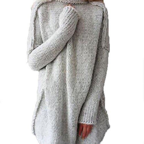hibote Femmes lâche élégant Crochet tricot col roulé surdimensionné hiver haut veste manteau manteau Gris