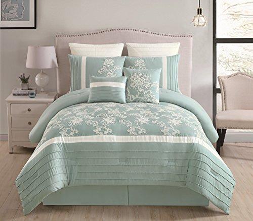 12-teiliges Maris Aqua Bed in a Bag w/500TC Baumwolle-Bettlaken-Set, Polyester, Sage/Ivory, King Size (Bett In Einem Beutel-ensembles)