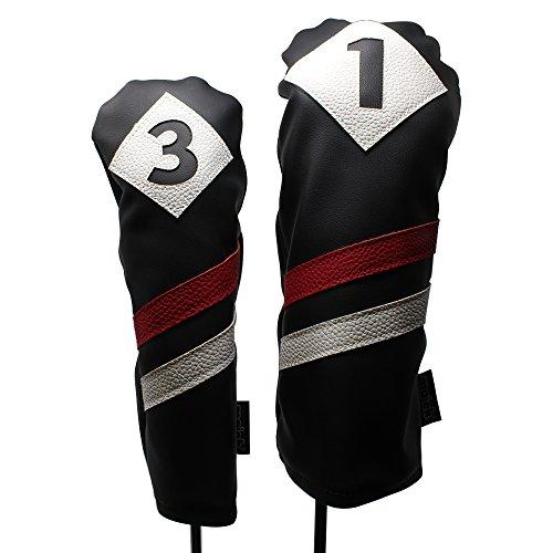Majek Retro Golf Schlägerkopfhüllen Schwarz Rot und Weiß Vintage Leder Style 1& 3Driver und Fairway Head Cover Passt 460cc Driver Classic Look (Clubs Covers Cobra Golf Head)