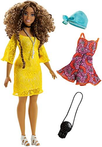 Barbie FJF70 Fashionistas Puppe + Mode Geschenkset im gelben Spitzenkleid, 3+ Jahre