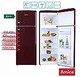 Amica Retro Kühl-/Gefrierkombination Weinrot KGC 15631 R A++ 213 Liter mit **** Gefrierfach Wine Red