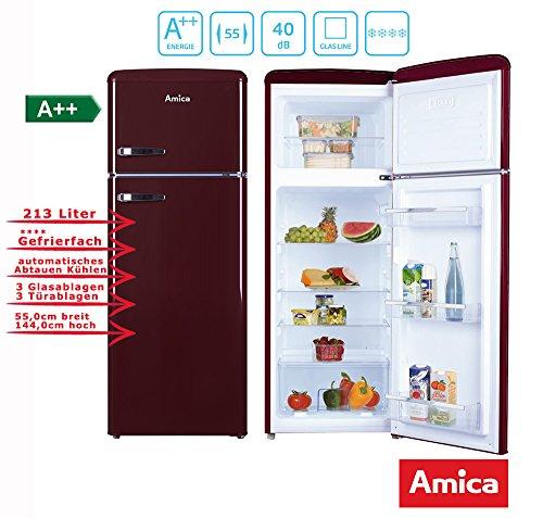 Amica Retro Nevera/Congelador Vino Rojo KGC 15631R