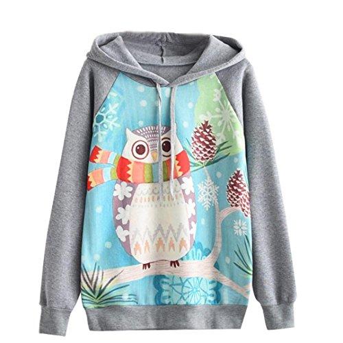 Ann Taylor Bluse (Hansee Mode Frauen Bluse Herbst Winter Niedliche Eule Langarm Hoodie Beiläufige Sweatshirt Jumper Mit Kapuze Pullover Tops (L))