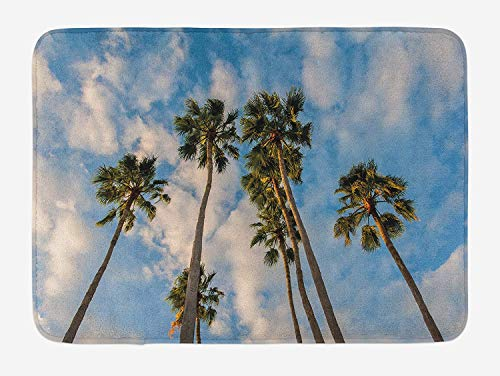 BUZRL Palm Tree Bath Mat, Exquisite Trees Under Cloudy Sky Hot Summer Sun Themed Nature Coast Image Print, Plush Bathroom Decor Mat with Non Slip Backing, 23.6 W X 15.7 W Inches, Blue Green (Rv-monster-truck)