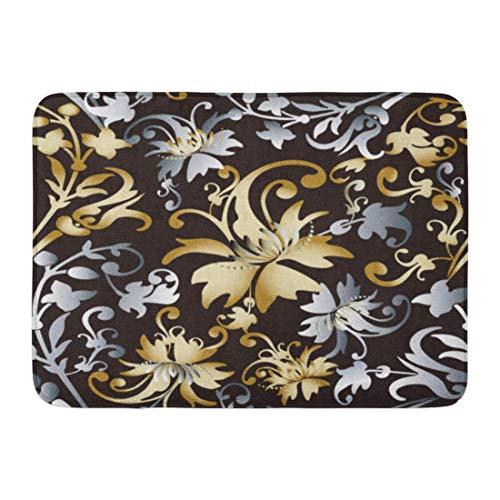 Antik-gold-teppich (arthur thomas Fußmatten Bad Teppiche Outdoor/Indoor Fußmatte Antik Damast Floral Barock Vintage 3D Blumen Blätter und Ornamente Gold Silber Muster Badezimmer Dekor Teppich 23,6x15,7 Zoll)