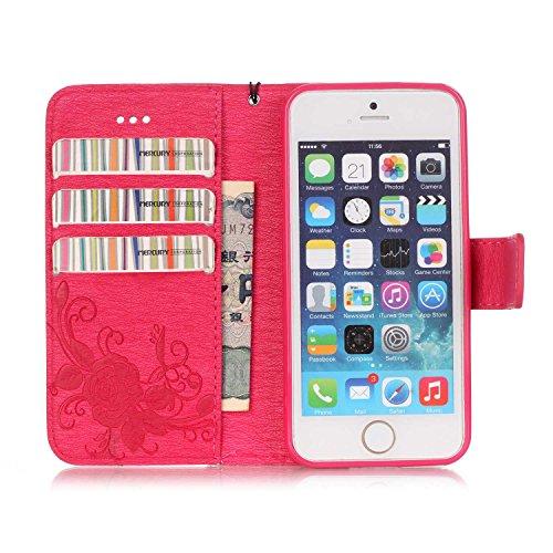 iPhone Case Cover Synthétique de haute qualité Housse en cuir PU avec 3D Résine Rhinetone Papillon Embossed Flowers Wallet Support de couverture de cas avec dragonne pour iPhone 5s SE ( Color : Dark B Red