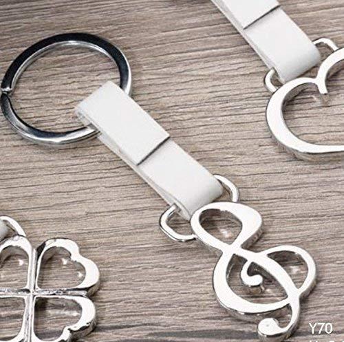 Portachiavi chiave di violino acciaio e similpelle bomboniera