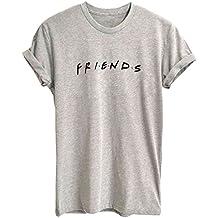 BLACKMYTH Mujer Moda Redondo Algodón T-Shirt Señoras Impresion Camisetas Manga ...
