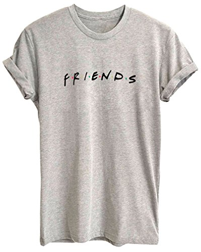 BLACKMYTH Mujer Moda Redondo Algodón T-Shirt Señoras Impresion Camisetas Manga Corta Tees Gris Medium