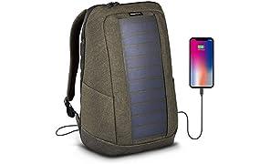SunnyBAG Iconic Solar-Rucksack mit eingebautem 7 Watt Solarpanel als Ladegerät für Smartphones (iPhone, etc.), Tablet, Smartwatch über USB-Ausgang