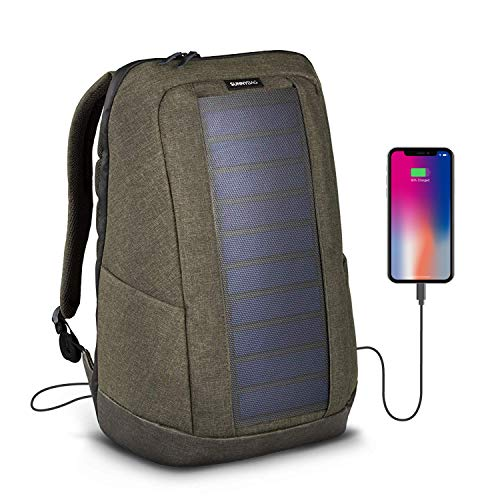 SunnyBAG Iconic Laptop Solar Rucksack mit 7 Watt Solarpanel als Ladegerät für Smartphones (iPhone, etc.), Tablet, Smartwatch + USB/dual-USB-Port, Farbe Olive-Brown