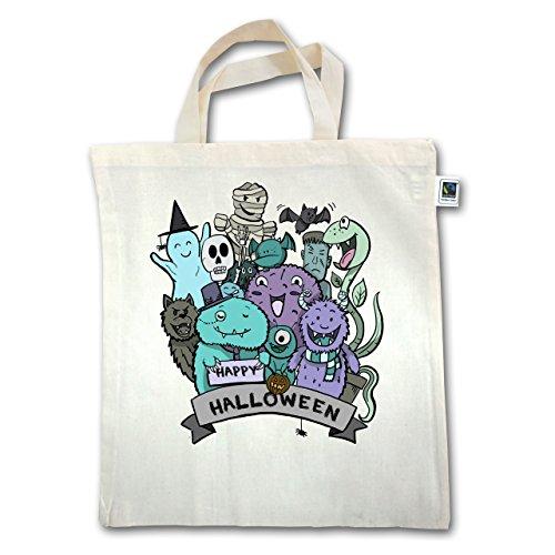 Halloween - Happy Halloween Monster - Unisize - Natural - XT500 - Fairtrade Henkeltasche / Jutebeutel mit kurzen Henkeln aus (Taschen Geld Halloween Kostüm)