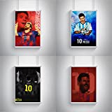 Sports & Sportstars Combo Posters - Set Of 4 (12 Inches * 18 Inches) Posters. Lionel Messi Fan Art FCB 10 Design, Rolled Posters Does Not Contain Wall Frames. Wall Arts For Your Home/office/café/shops And Gifts For Yourself, Friends, Mom, Dad,