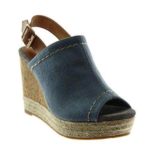 Denim-heels (Angkorly - Damen Schuhe Mule Sandalen - Peep-Toe - Plateauschuhe - knöchelriemen - Seil - Geflochten - Kork Keilabsatz high Heel 10.5 cm - Denim W20-7 T 39)