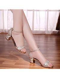 VIVIOO Zapatos de tacón alto Sandalias de tacón alto Palabra de verano  Hebilla gruesa con zapatos d22b0b592efd