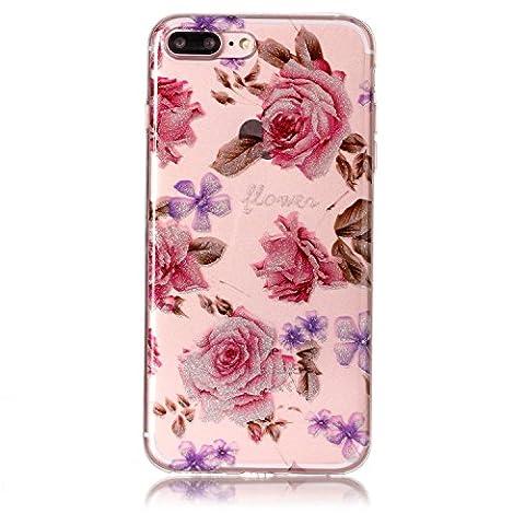 iPhone 7 Plus Hülle, Chreey Glitzer Muster Transparent Handyhülle Niedlich Mode Süß Temperament Weiche TPU Silikonhülle Case Ultra Dünn Kratzfest Durchsichtige Hülle Backcover [Rose]