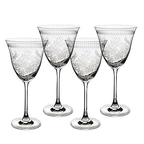 Botanic Garden gravé en verre cristal Lot de 4verres à vin