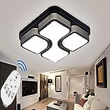 ETiME 43cm Design LED Deckenlampe dimmbar mit Fernbedienung Led Deckenleuchte Wohnzimmer Lampe Schlafzimmer Küche Leuchte 2700-6500K Schwarz Quadratform (43x43cm 24W Dimmbar)