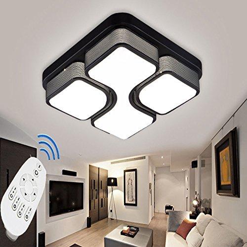 ETiME 24W Design LED Deckenlampe dimmbar mit Fernbedienung Led Deckenleuchte Wohnzimmer Lampe Schlafzimmer Küche Leuchte 2700-6500K Schwarz Quadratform (43x43cm 24W Dimmbar)