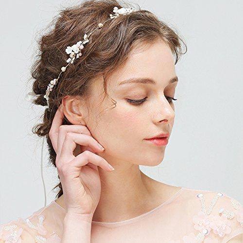Kercisbeauty Handgemachte süße Perle weiße Blume Stirnband Tiara für Hochzeit Braut, Abschlussball Headpiece für Mädchen