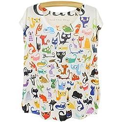 YueLian el Patrón de Camisetas de Manga Corta el Catito de Impresión Digital para los Mujers(gatos)