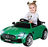 Actionbikes Motors Kinder Elektroauto Mercedes Amg GT-R - lizenziert - 2 x 25 Watt Motor - Ledersitz - Eva Reifen - Softstart - Kinderauto (Rot)
