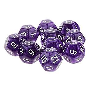 Newin Star 10 Piezas de Juegos de rol de plástico Dados Conjunto de 12 Caras números Blancos Estilo TRPG acrílico Dados púrpuras