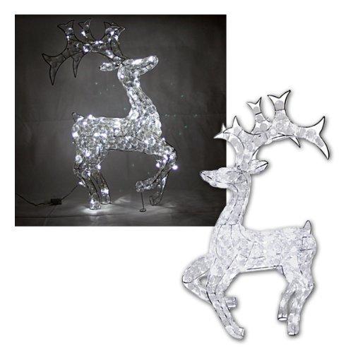 Star 802-17 64 luci renne corrente acrilico con lustrini chiare a led, in metallo, colore: bianco freddo