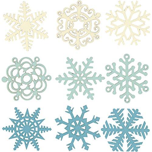 Décoration en bois, d: 40 mm, turquoise clair, turquoise foncé, blanc cassé, flocons de neige, 9assortis