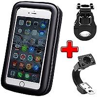 ICOOM Handyhalterung wasserdicht universal mit ZWEIFACHER Befestigung Motorrad- und Fahrradlenker Radsport mit wasserfestem Etui für GPS, Apple, Android, Smartphone (L, Noir)