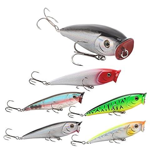 Seaknight 5pcs/lot Popper Leurres de pêche Topwater Leurre de pêche réaliste Appât artificiel, Homme, SK029-5pcs