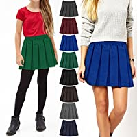 Girls Kids School Uniform Box Pleated Elasticated Waist Skirt Age 2-18 Years