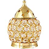 SAARTHI Brass Akhand Diya | Diamond Crystal Deepak/Dia | Akhand Jyot | Magical Lantern Brass Diya | Decorative Brass Crystal Oil Lamp | Tea Light Holder Lantern | Puja Lamp - OVAL