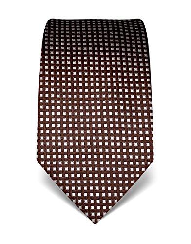 Vincenzo Boretti Herren Krawatte reine Seide Karo Muster kariert edel Männer-Design zum Hemd mit Anzug für Business Hochzeit 8 cm schmal/breit dunkelbraun