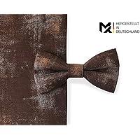 MAY-TIE Herren Fliege   Rusty- Braun   100% Baumwolle   Style   gebunden und stufenlos verstellbar mit Hakenverschluss   hergestellt in Deutschland