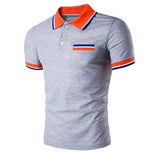 ASHOP Herren-Buttons Design Halber Cardigans Short Sleeve Slim Fit Casual T-Shirt (M, Grau)